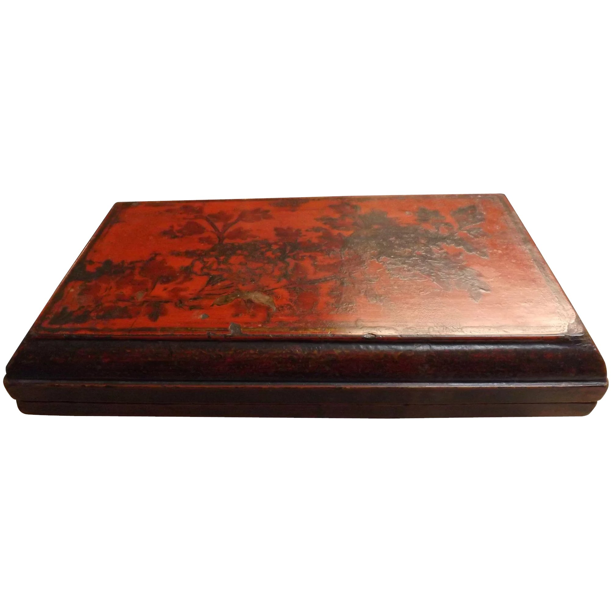 Quing Dynasty Presentation Box - Decorated Wood & Lacquer