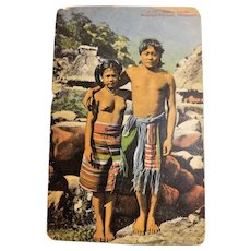 BONTOC Tribal Pair Phillippines - Early 1920's Photographic Card