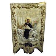 Peruvian Processional Banner For Saint Martin of Porres & Saint Juan Macias - Circa 1900