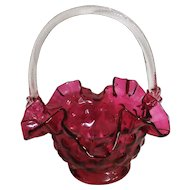Stunningly Beautiful Victorian Cranberry Glass Basket - Circa 1860-1880 England