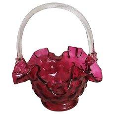 Stunningly Beautiful Victorian Cranberry Glass Basket - Circa 1860-1880 England