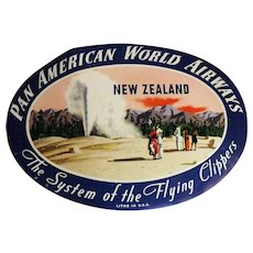 PAN AM Baggage Label - New Zealand Circa 1970