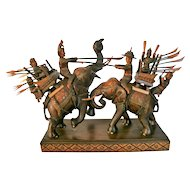 War Elephants 15th Century - Thailand - Hand Carved Collectible Circa 1970