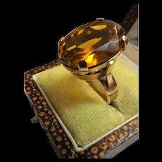 Stunning Large Citrine Dress Ring Set In 9 Carat Gold