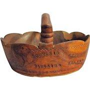 Pitcairn Island Hand Carved Wooden Souvenir Basket - Circa 1935