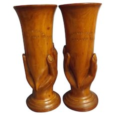 A Pair of Pitcairn Island Hand Vases or Chalices - Circa 1935
