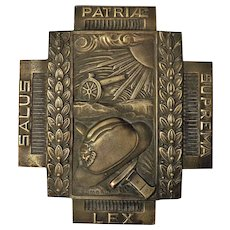 Belgium 'FIRE CROSS' Bronze Plaque - World War One
