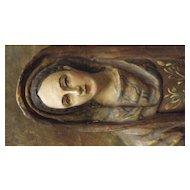 Madonna Plaque Hand Carved with Gesso & Polychrome Decoration - Circa 1920