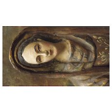 Madonna Plaque Hand Carved with Gesso & Polychrome Decoration - Circa 1920