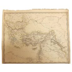 Antique Map of The Turkish Empire With The Kingdom of Greece -Dated 1843