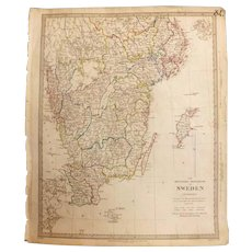 Antique Map of The Southern Provinces of Sweden - By Forsell Dated 1833