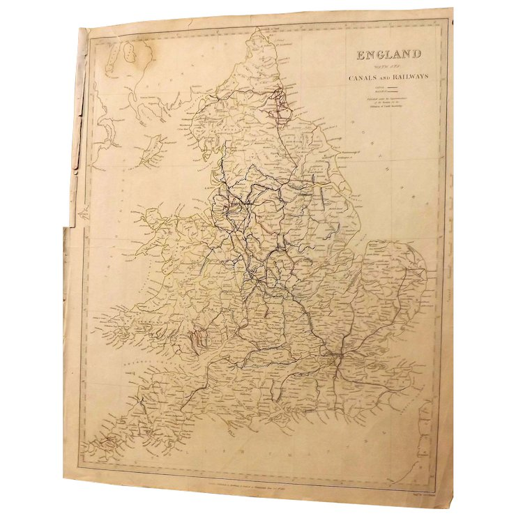 Antique Map Of England With Canals Railways Marked Dated 1837