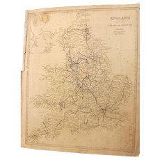 Antique Map Of England With Canals & Railways Marked - Dated 1837