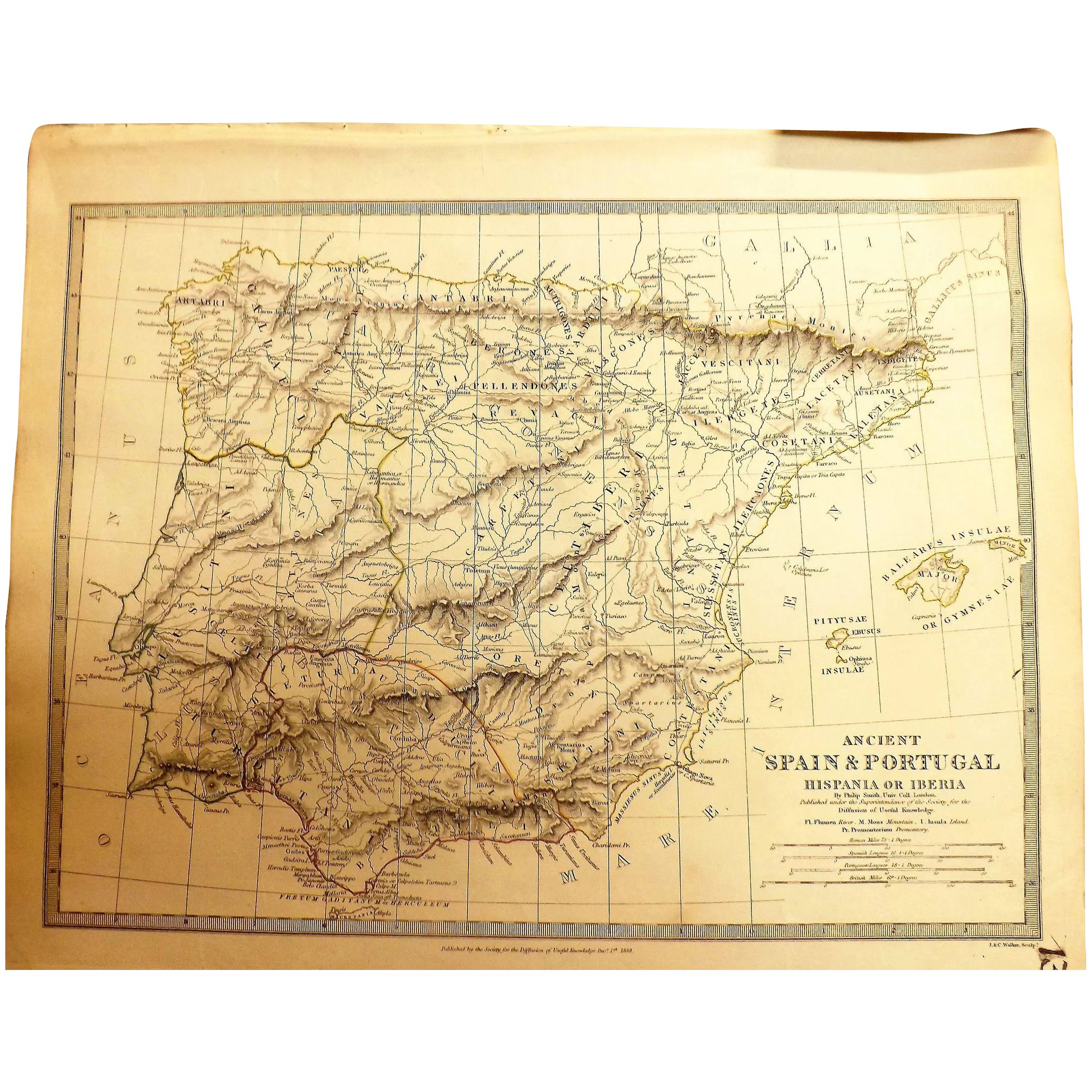 Antique Map Of Spain Portugal By Prof Philip Smith Of