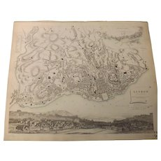 Antique Map of Lisbon City - Dated 1833