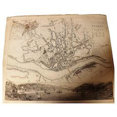 Antique Map of Oporto Dated 1833