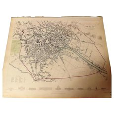 Antique Map of Berlin - Dated 1833