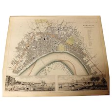 Antique Map of BORDEAUX -Dated 1832