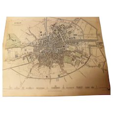 Antique Map of Dublin - Dated 1833