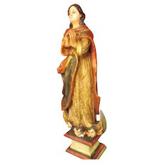 Gorgeous Antique Hand Carved 'Our Lady of The Immaculate Conception' Circa 1900-1915