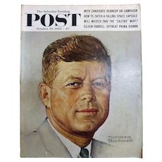 Saturday Evening Post Magazine  October 29 1960 -Norman Rockwell Cover JFK