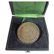 Queen Victoria Silver Half Crown Brooch - 1887