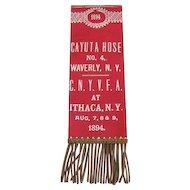 Firemen's  Ribbon - Cayuta House No. 4 - Ithaca N.Y. Convention 1894