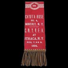 Firemen's  Ribbon - Cayuta House No. 4 - Ithaca N.Y. Convention 1894