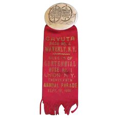 FIREMEN'S Ribbon for  Cayuta Hose No 4  & Centennial Hose No 1 -  Union N.Y. 1901
