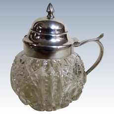 Victorian Silver Top Crystal Glas Mustard Pot by Birks of Montreal