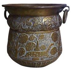 Imposing Large Brass Jardiniere - India Circa 1900