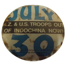 "1972 Protest Badge ""NZ & US Troops Out of Indochina NOW"""