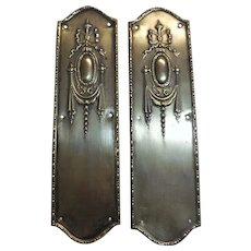 A Pair Of Brass Art Nouveau Door Push Plates - England Circa 1900