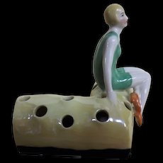 Art Deco 'Flapper' Porcelain Hat Pin Holder / Flower Frog - Circa 1920's Germany