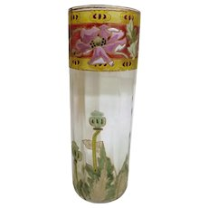 Scrumptious Hand Painted Art Nouveau Glass Vase - Circa 1890-1910
