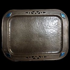 Arts & Crafts Pewter Tray with Cabochons - Circa 1890-1910