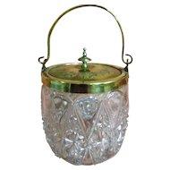 victorian Crystal Glass & Brass Biscuit Barrel