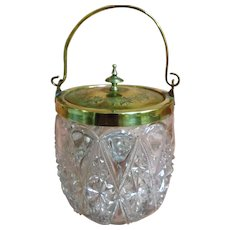 victorian Crystal Glass & Brass Biscuit Barrel