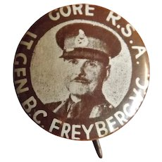 Lt. General B.C. Freyberg VC  - Tin Pinback Badge