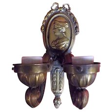 French Bronze & Copper Antique Wall Sconce