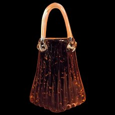 Murano Venetian Hand Blown Art Glass PURSE VASE - Sublime!