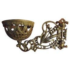 Victorian Ornate Cast Iron Oil Lamp Sconce - Circa 1880-1890