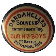 Gallipoli Commemoration 'Dardanelles' Tin Pin Back Badge
