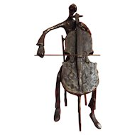 A Brutalist Bronze Sculpture of A Double Bass Player