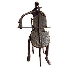 A Brutalist Bronze Sculpture of A Double Bass Player