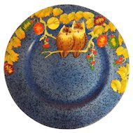 """Royal Winton 1930's Art Deco Hand Painted Cabinet Plate """"OWLS"""""""