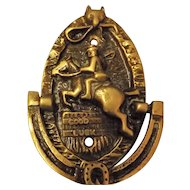 "Old 'Fox Hunting"" Small Brass Door Knocker - Circa 1920"