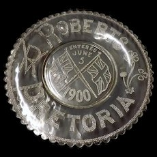 Commemorative Glass Plate - General Roberts Entering Pretoria June 5  1900