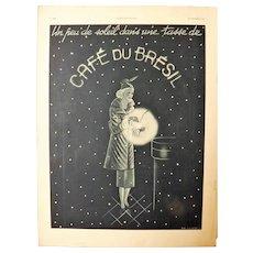 L'IIlustration French Magazine Original Cafe Du Bresil 1937 Advertisement