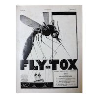 L'IIlustration French Magazine Original  FLY-TOX 1937 Advertisement